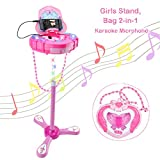 WISHTIME Kids Karaoke Microphone Musical Toys Kids Pink Karaoke Adjustable Stand & Shoulder