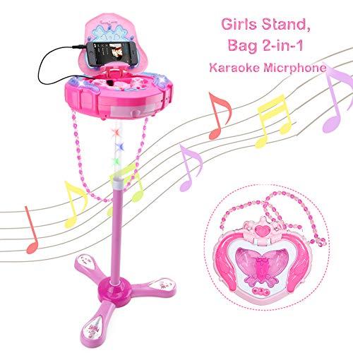 Karaokemaschinen Mikrofon Elektronisches Spielzeug - WISHTIME Karaoke Mikrofon für Kinder Musikspielzeug , Verstellbarer Ständer mit externer Musikfunktion und Blinklichter, Spielzeug für Kinder