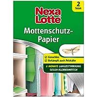 Nexa Lotte Mottenschutzpapier, Schützt effektiv bis zu 6 Monate Wollsachen, Mäntel, Kleider, Pelze in Schränken, Koffern, Truhen vor  Kleidermotten und Pelzkäferlarven, 2 Streifen