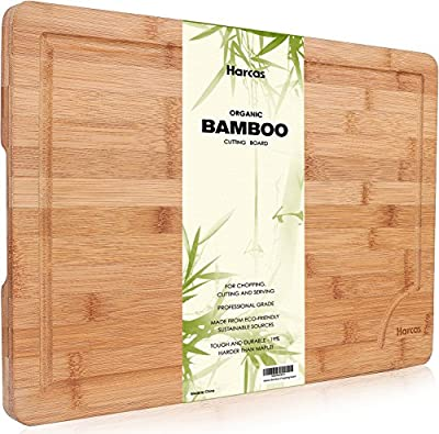 Premium Organic Bamboo Chopping Board by Harcas. Extra Large Size Cutting Board 45cm x 30cm x 2cm. Best for Meat, Vegetables and Cheese. Professional Grade for Strength and Durability. Drip Groove
