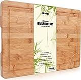 Premium Schneidebrett aus Bio Bambus von Harcas. XL-Schneidebrett 45cm x 30cm x 2cm. Ideal für Fleisch, Gemüse und Käse. Professionell, langlebig und widerstandsfähig. Mit Saftrille