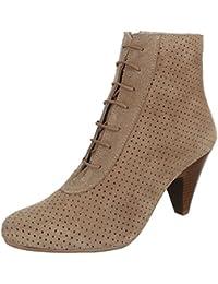 ea23c555a72b Ital-Design Damen Schuhe, 4283, STIEFELETTEN PERFORIERTE LEDER SCHNÜR BOOTS