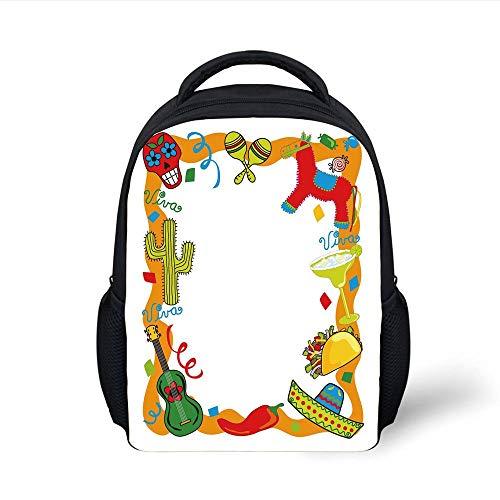 Kids School Backpack Fiesta,Cartoon Drawing Style Mexican Pinata Taco Chili Pepper Sugar Skull Pattern Guitar,Multicolor Plain Bookbag Travel Daypack