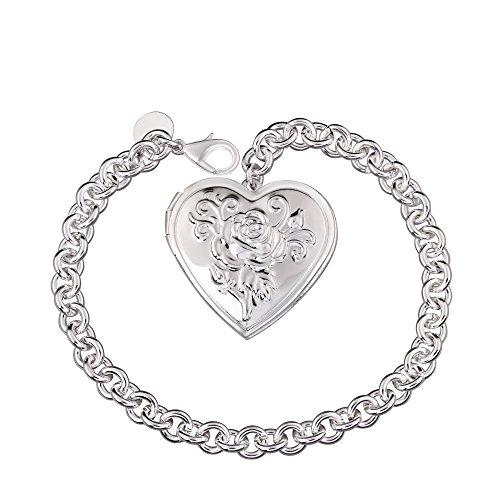 Styleziel Damen Armband 925 Silber pl kleines Herz Medallion für EIN Foto als Anhänger 21cm 2181 -