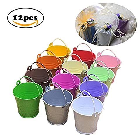 Dproptel All-in-1 Mini Metal Bucket Candy Favours Box Pail Wedding Party Gift / Serving Bucket, Chip Bucket, Condiment Packet Holder, Ash Tray Bucket - 12 Pack 12