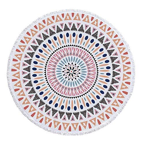 BBQBQ Geometrisch bedruckter runder Strandtuchschal Multifunktionsteppich -04 150 * 150cm