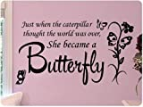 Wandaufkleber Wall Sticker quotes Large Schwarz Butterfly Caterpillar.Wall Decal Little Girls Room Nursery Decal Quote Vinyl Love Large Nice Sticker