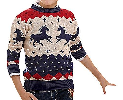 Fair-isle-pullover Mit V-ausschnitt (Zamot, Jungen Full Ärmel trendige geschlossen Hals Colorful Pferd Geo Motiv Pullover)