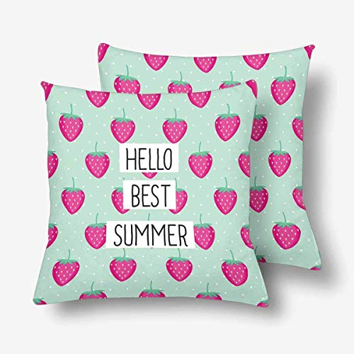 Liuzhis Hello Best Summer Pink Strawberry Summer Fruit Mint Polka Dot Kissenbezug Überwurf Kissenbezug 18x18 Set von 2 Kissenbezügen Schutz für Home Couch Sofa Bettwäsche Deko - Schutz Cool Mint