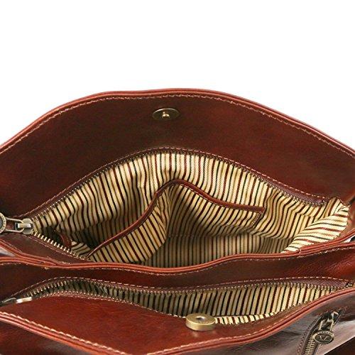 Tuscany Leather Sara Borsa a tracolla in pelle Nero Rosso
