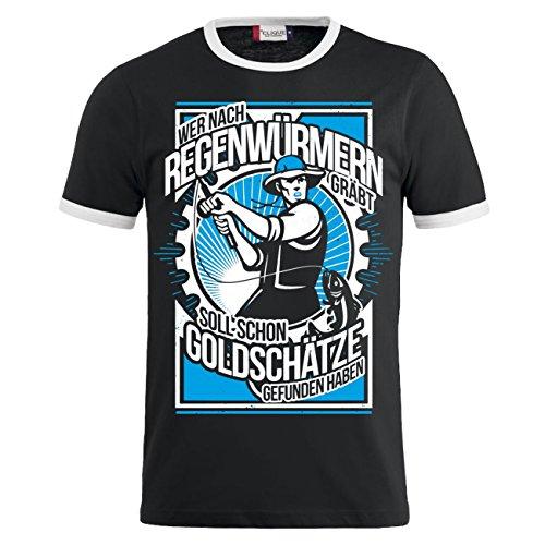 Männer und Herren T-Shirt Wer nach Regenwürmern gräbt (mit Rückendruck) Schwarz/Weiß