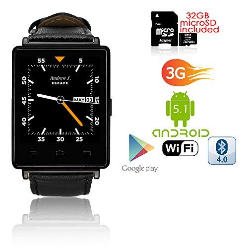 Indigi® 2017Android 5.13G Entsperrtes Smartwatch & Telefon WIFI + GPS (Karten) + Herzfrequenz + Google Play Store + Bluetooth Headset (Quadband Handy Uhr)