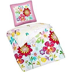 Aminata Kids - Kinder-Bettwäsche-Set 135-x-200 cm Schmetterling-e-Motiv Fee-n Wand-deko Wand-Tattoo Blume-n 100-% Baumwolle Renforce bunt-e Weiss rosa grün rot blau-e Blume-n