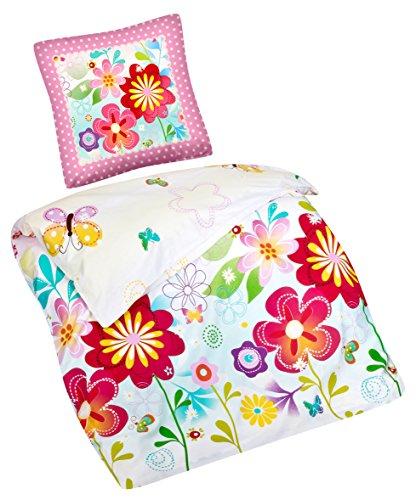Aminata Kids – Bettwäsche 135x200 cm Kinder Mädchen Blumen Schmetterlinge Baumwolle + Reißverschluss Pink Blau Gelb Grün Blümchen Butterfly Kinderbettwäsche 2-teiliges Bettwäscheset Bettbezug Ganzjahr (Blau Und Gelb Bettbezug)