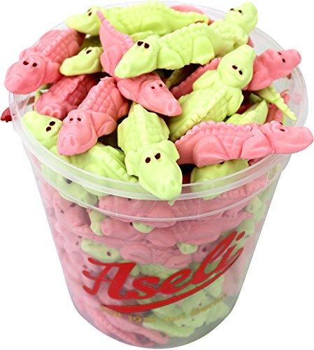 Aseli weiche Schaumzucker-Ware | süße Himbeer und Waldmeister Krokodile | wiederverschließbarer 1kg Eimer | Schaumzucker-Tiere handgefertigt | Krokomix gluten-frei, laktose-frei