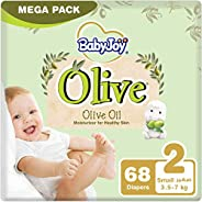 BabyJoy Olive Oil, Size 2, Small, 3.5-7 kg, Mega Pack, 68 Diapers