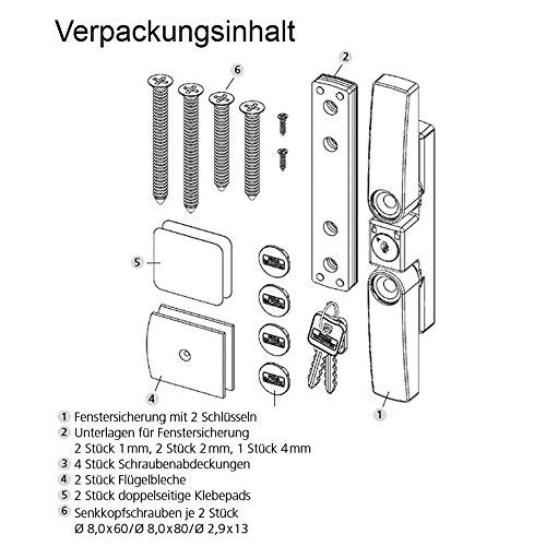 BURG-WÄCHTER Fenstersicherung mit 2 Schwenkriegeln, Für einflügelige und zweiflügelige Fenster aus Holz oder Aluminium, 2 Schlüssel, WinSafe WS 22 W SB - 6