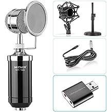 Neewer Micrófono de condensador sobremesa para Windows PC y Mac para estudio de difusión de grabación, con Cable adaptador de audio, soporte de mesa, montaje de choque, filtro de pantalla de viento y USB 2.0 tarjeta de sonido externa