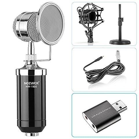 Neewer Microphone à Condensateur de Bureau pour Ordinateur Windows et Mac pour Studio Enregistrement Broadcast avec Câble Audio, Support de Table, Monture de Antichoc, Antivent Filtre et USB 2,0 Adaptateur de Carte de Son Externe