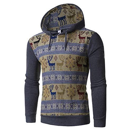 B-COMMERCE Herren Herbst Winter Sweatshirt Casual Vinage Kitz Pullover Nationaler Stil Farbe spleißen Warm 5 Farbe M-XXL (Ralph Von Pack Polo-shirts Lauren)
