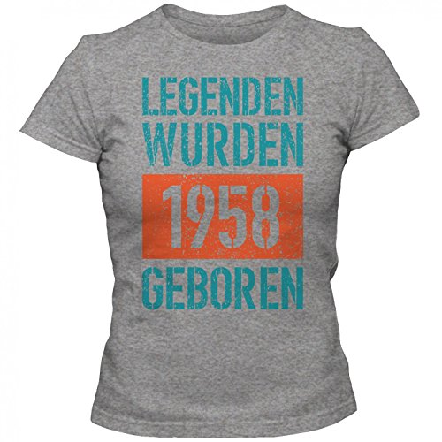 Legenden 1958 #1 T-Shirt | Jahrgang 58 | 59.Geburtstag | Geschenkidee | Frauen | Shirt © Shirt Happenz Graumeliert (Grey Melange L191)