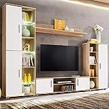 Xingshuoonline Wohnwand für TV mit LED-Lichtern Eiche Sonoma und Weiß TV-Möbel Gesamtmaße: 260 x 30 x 180 cm (Breite x Tiefe x Höhe)
