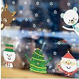 ZBYLL Pegatinas De Navidad Santa Claus Cute Bear Snowflake Salón Dormitorio Pared De Vidrio Adhesivos