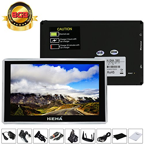 "Hieha 5"" Zoll 8GB PKW Car Auto KFZ Europe Traffic GPS Navi Navigation Navigationssystem Navigationsgerät Lebenslange EU Karten POI Blitzerwarnungen 8GB"
