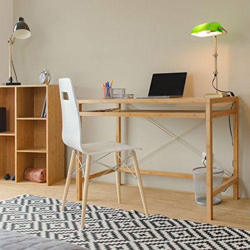 Relaxdays Wooden Computer Table, Keyboard Drawer, Solid Office Desk, HxWxD: 76.5 x 106.5 x 55.5 cm, Natural Brown