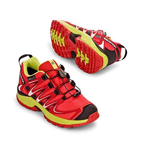 Salomon Enfants XA Pro 3D CSWP Chaussures de Course à Pied, Trail Running et Activités en Extérieur, Synthétique/Textile Rouge (Fiery Red/sulphur Spring/black)