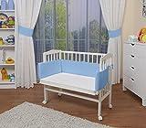 WALDIN Baby Beistellbett mit Matratze und Nestchen, höhen-verstellbar, 16 Modelle wählbar, Buche Massiv-Holz weiß lackiert,blau
