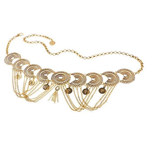 iiniim Damen Gürtel Vintage Taille Gürtel Münze Quaste Kettengürtel Kleid Dekoration Accessoires Gold Einheitsgröße
