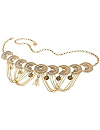 TiaoBug Tassel Geometry Coin Crystal Belt Dance Adjustable Vintage Waist Body Chain For Women