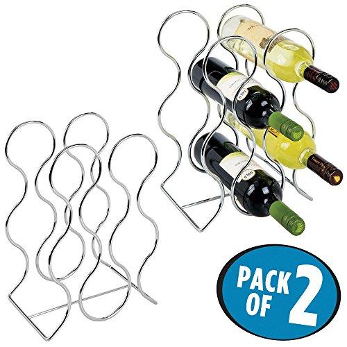 mDesign Weinflaschenhalter freistehend für 6 Flaschen - Weinregal aus Metall - modernes...