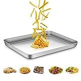 AEMIAO Edelstahl Backblech Antihaft Kuchenblech Tief Ofenblech Profi Pfanne Tablett für die Küche zu Hause, Gesund, Superior Spiegel Oberfläche & Spülmaschinenfest, 40 X 30 X 2.5 cm