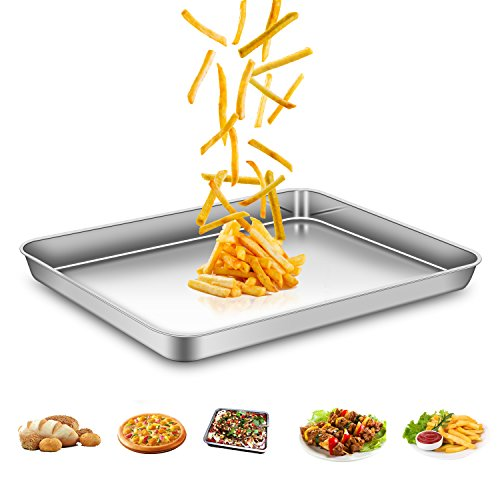 AEMIAO Stainless Steel Non Stick Baking Trays Professional Baking Sheets Oven Trays Set for Home Kitchen, Non Toxic & Healthy, Mirror Finish & Rust Free, Easy Clean & Dishwasher Safe, 40 x 30 x 2.5 cm