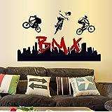 Autocollant mural, Chshe Stunt BMX Silhouette Art Stickers autocollants muraux en vinyle pour sports Fan Home Decor pour salon Chambre TV Fond