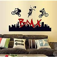Adhesivo decorativo para pared, chshe Stunt BMX bicicleta silueta arte vinilo pared adhesivos pegatinas para deporte ventilador decoración para el hogar para salón o dormitorio TV fondo