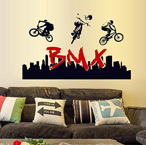Wandtattoo, chshe Stunt BMX Bike Silhouette Art Vinyl Wandbild Aufkleber Aufkleber für Sport Fan Home Decor für Wohnzimmer Schlafzimmer TV Hintergrund -