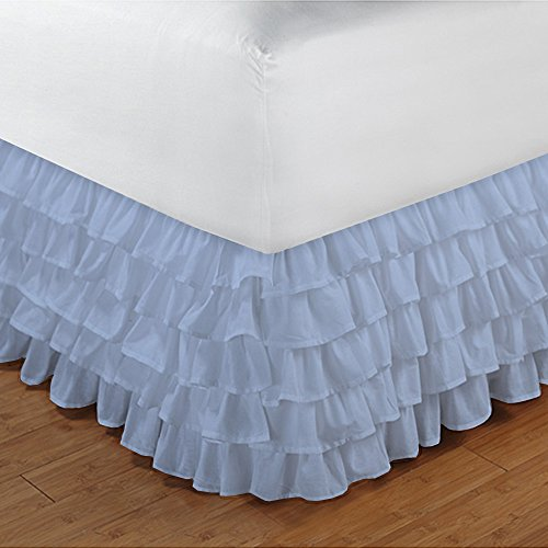 400TC, 100% ägyptische Baumwolle elegantes Finish 1Stück Multi Rüschen Bettvolant massiv (Drop Länge: 50,8cm), baumwolle, Light Blue Solid, Euro_Double_Ikea