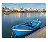 luxlady Gaming Mousepad Bild-ID: 34412099 Traditionelle Portugiesisch Boot im Dock View Cabanas de Tavira