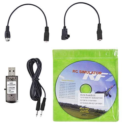 USB Flight Simulator Kabel, 22-in-1 RC Drone Wire Dongle für RealFlight G7, mit 1,5 m Audiokabel, schwarz
