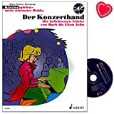 Klavier spielen mein schönstes Hobby - Der Konzertband - Die beliebtesten Stücke von Bach bis Elton John - Notenbuch mit CD und bunter herzförmiger Notenklammer