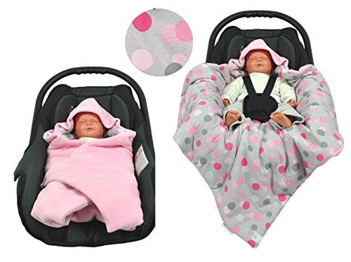 hobea Baby Sitz Wrap Decke (klein, Rosa mit Punkten)
