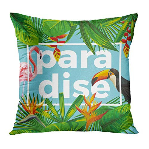 Throw Pillow Cover Slogan Paradise in the Composition of Tropical Banana Leaves Flowers Wild Birds Toucan and Pink Flamingo Decorative Pillow Case Home Decor Square 20x20 Inches Pillowcase