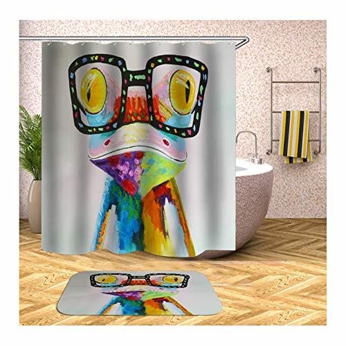 Anyeda Duschvorhang Fußmattensatz Polyester Frosch mit Gläsern Antibakteriell Bunt Duschvorhang 165X200Cm Plus Bodenmatte 40X60CM