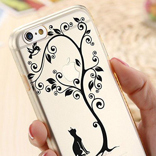 OOH!COLOR® Design Case für iPhone 7 Plus mit Motiv MPA147 weiß Punkte modisch stilvoll Silikon Hülle elastisch Schutzhülle Transparent Case Luxus Cover Slim Etui ROZ005 Schwarze Katze