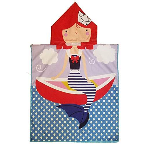 HBZZCL Serviette De Bain pour Enfants Dessin Animé Manteau Serviette De Plage À Capuchon Marinière Sirène 60X120Cm