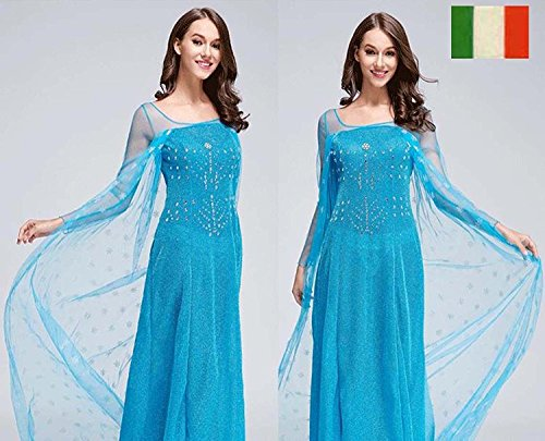 Erwachsene Damen Frozen Princess Elsa Kostüm Cosplay Party Gewand Fancy Kleid Outfit, S(UK SIZE 8-10)