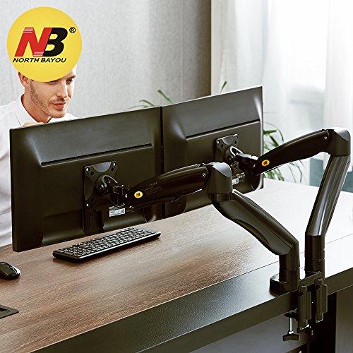 """NB North Bayou F195A 22"""" - 32"""" Dual Monitor Tischhalterung mit Justierbare Gasfeder Ergonomische 2 Monitore Halterung 2 Bildschirm Halterung 3-9kg Dual Monitor Arm Frei Drehbar 360°mit 2 USB2.0"""